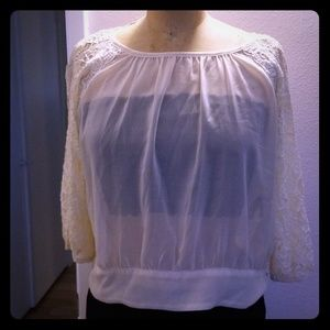 NWOT Forever 21 chiffon lace cream blouse